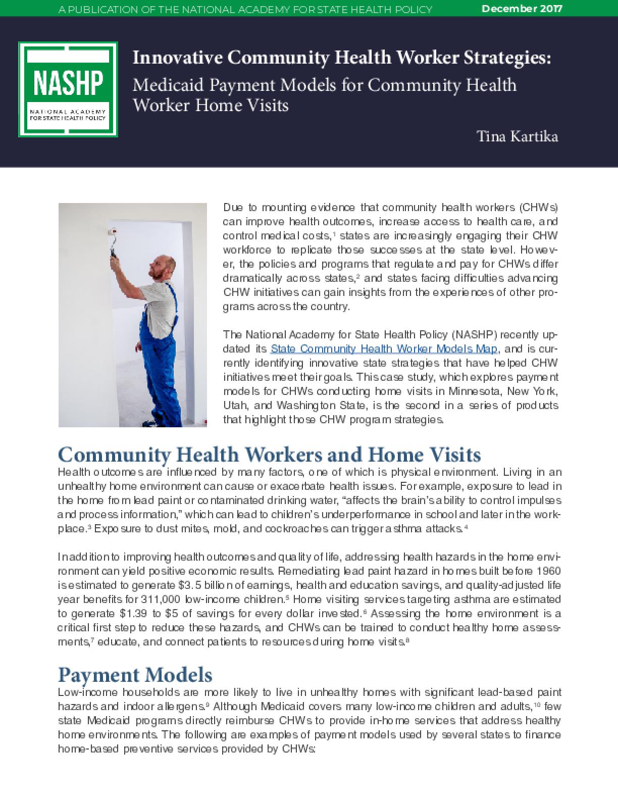 Innovative Community Health Worker Strategies: Medicaid Payment Models for Community Health Worker Home Visits