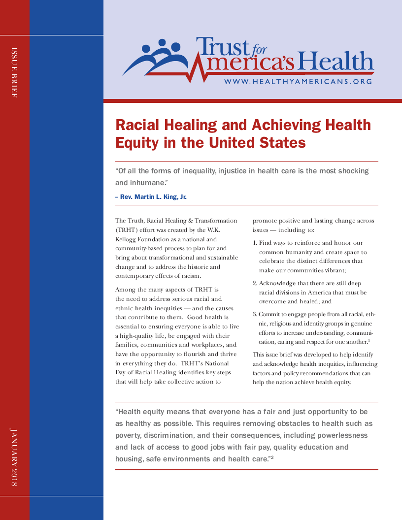 Racial Healing and Achieving Health Equity in the United States