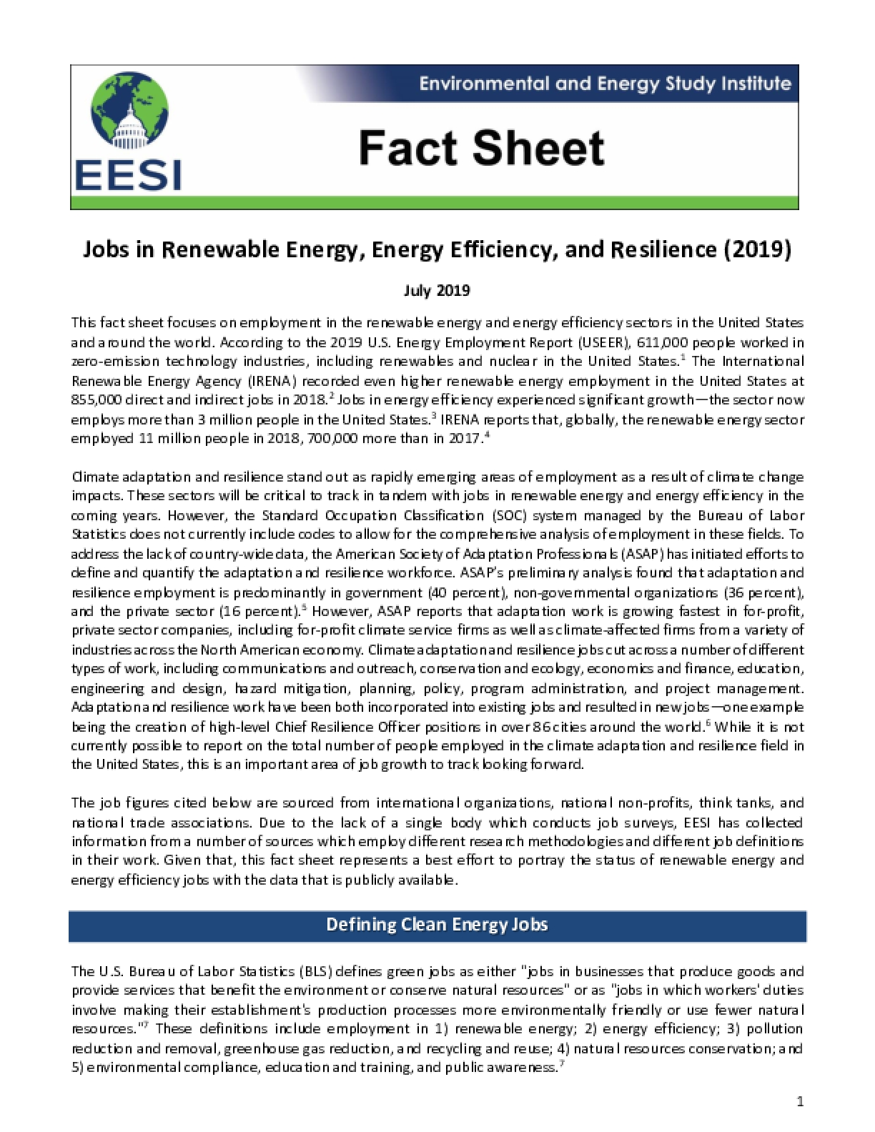 Fact Sheet - Jobs in Renewable Energy, Energy Efficiency, and Resilience (2019)