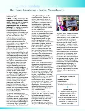 Social Justice Funders SPOTLIGHT: The Hyams Foundation