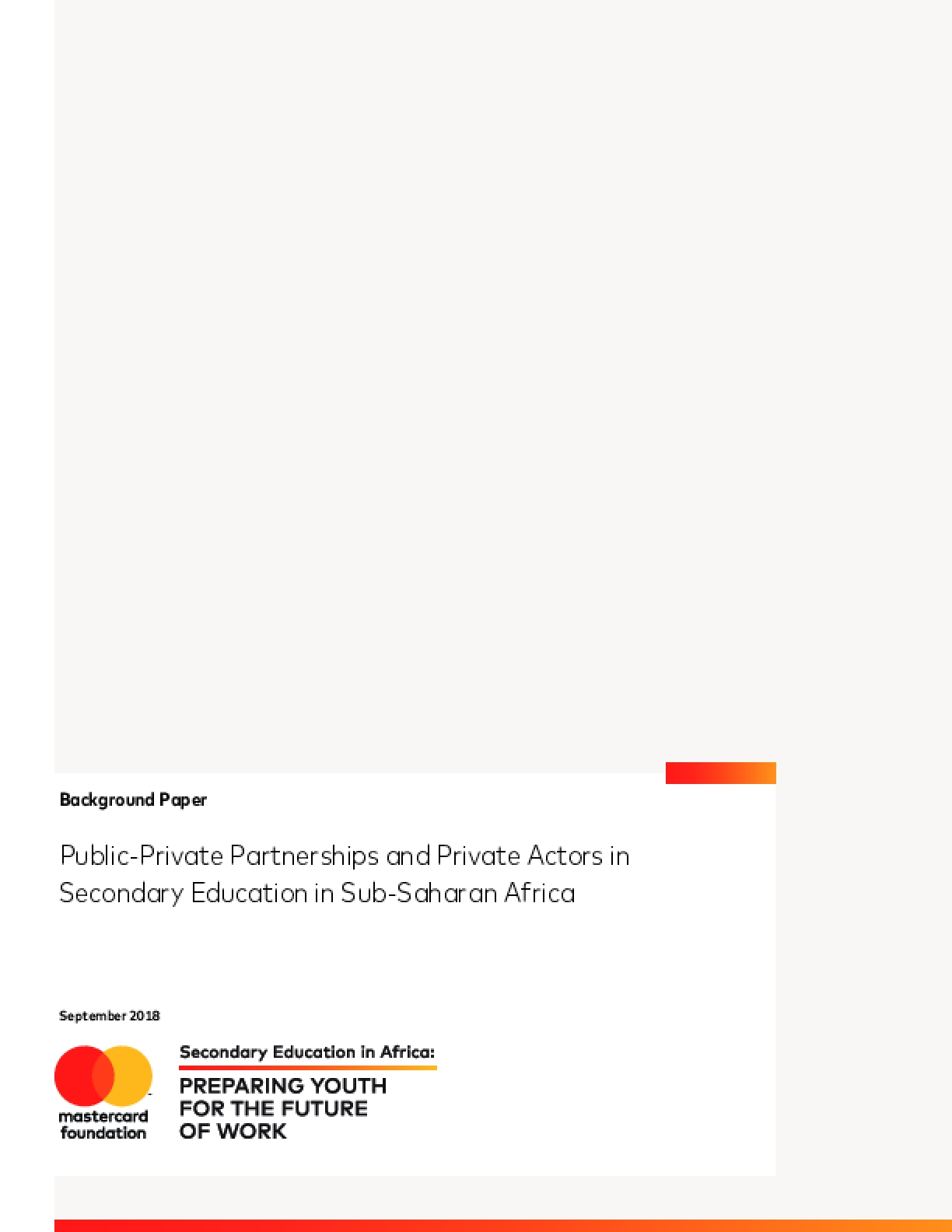 Public-Private Partnerships and Private Actors in Secondary Education in Sub-Saharan Africa