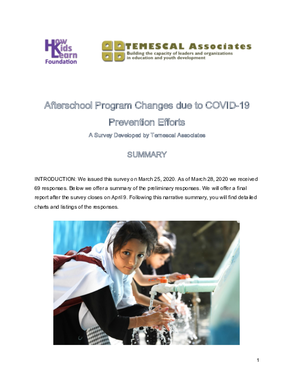 Preliminary Survey Results: Afterschool Program Changes due to COVID-19 Prevention Efforts