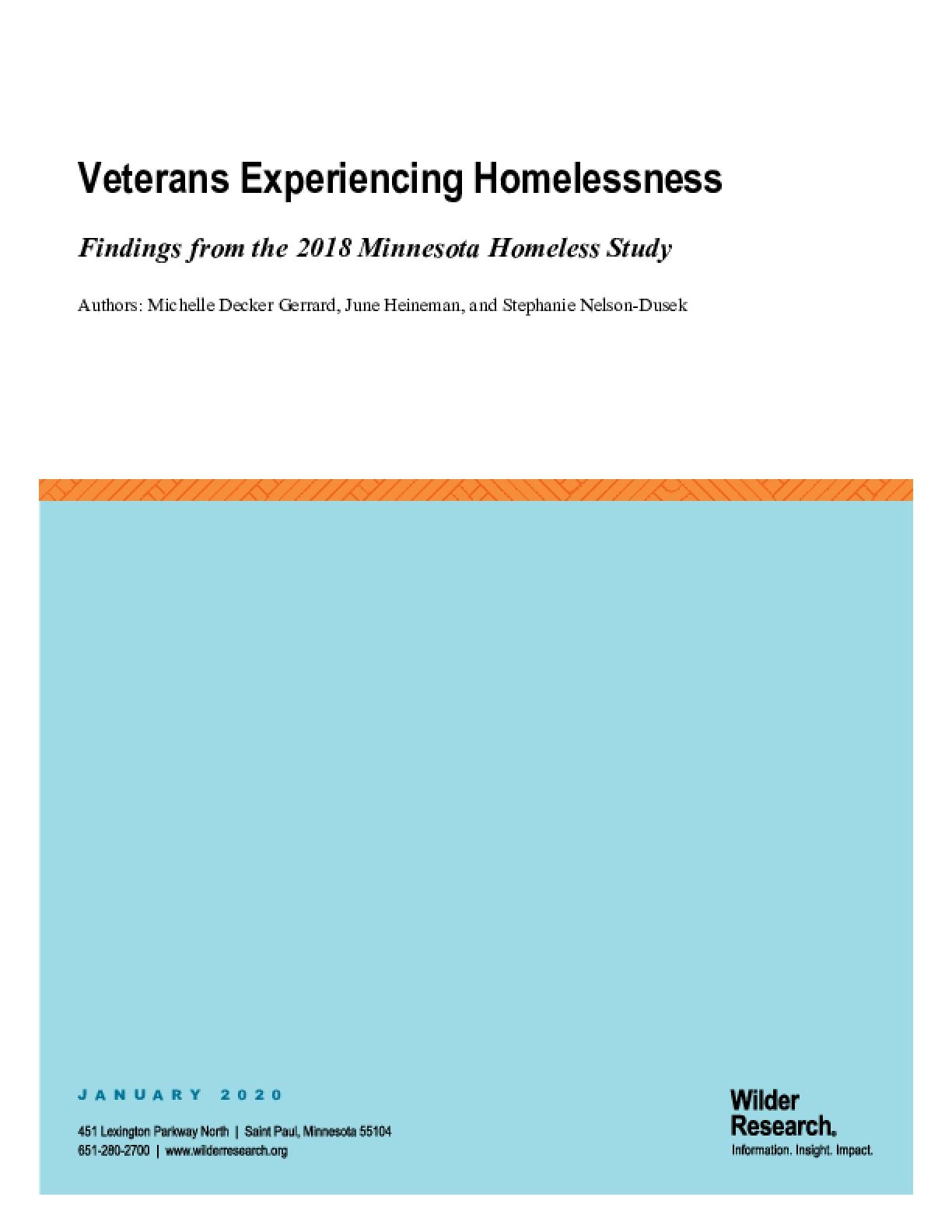 Veterans Experiencing Homelessness: Findings rom the 2018 Minnesota Homeless Study