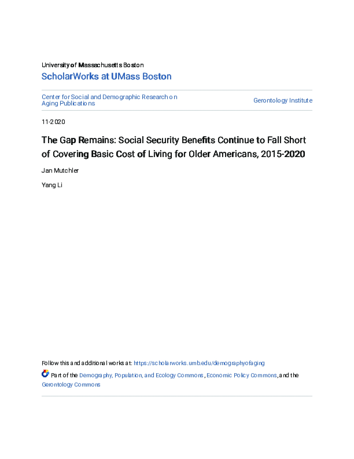 The Gap Remains: Social Security Benefits Continue to Fall Short of Covering Basic Cost of Living for Older Americans, 2015-2020