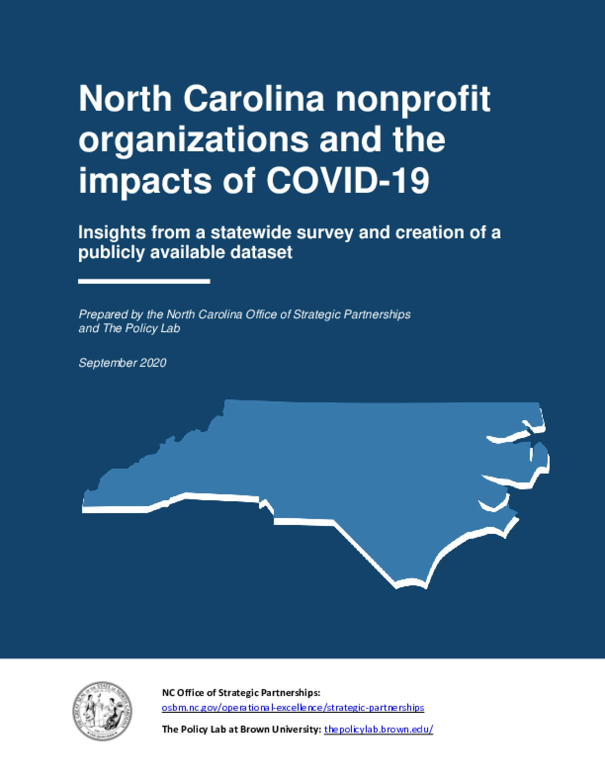 North Carolina Nonprofit Organizations and the Impacts of COVID-19: Insights from a Statewide Survey and Creation of a Publicly Available Dataset