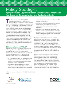 Policy Spotlight: Aging Network Opportunities in the New Older Americans Act Research, Demonstration and Evaluation Center
