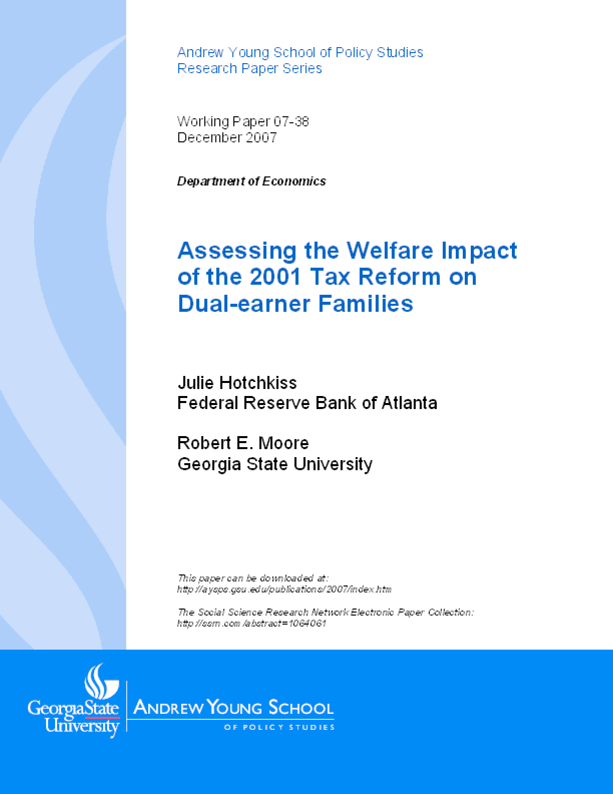 Assessing the Welfare Impact of the 2001 Tax Reform on Dual-earner Families