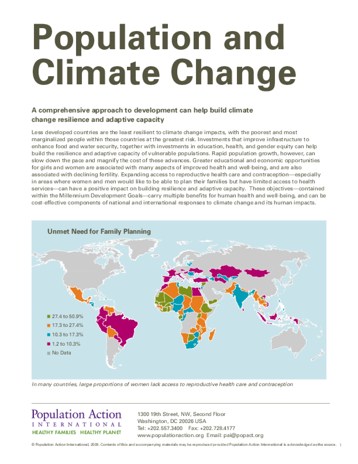 Population and Climate Change Data Sheet