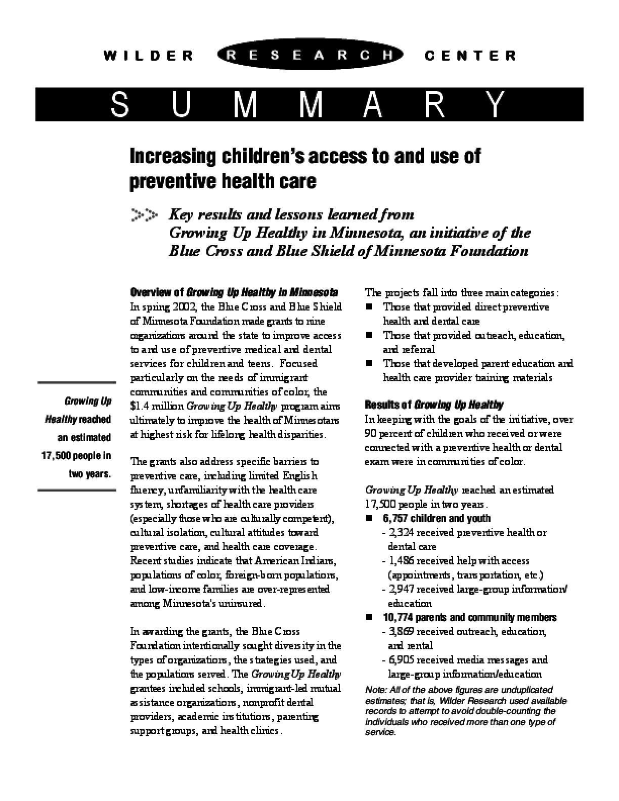Growing Up Healthy in Minnesota
