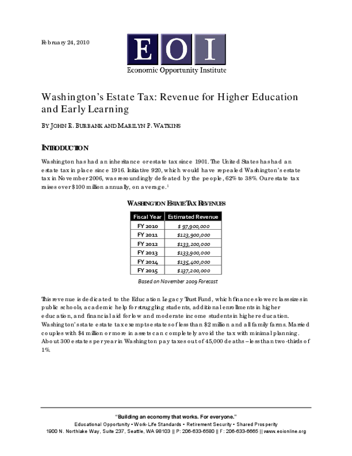Washington's Estate Tax: Revenue for Higher Education and Early Learning