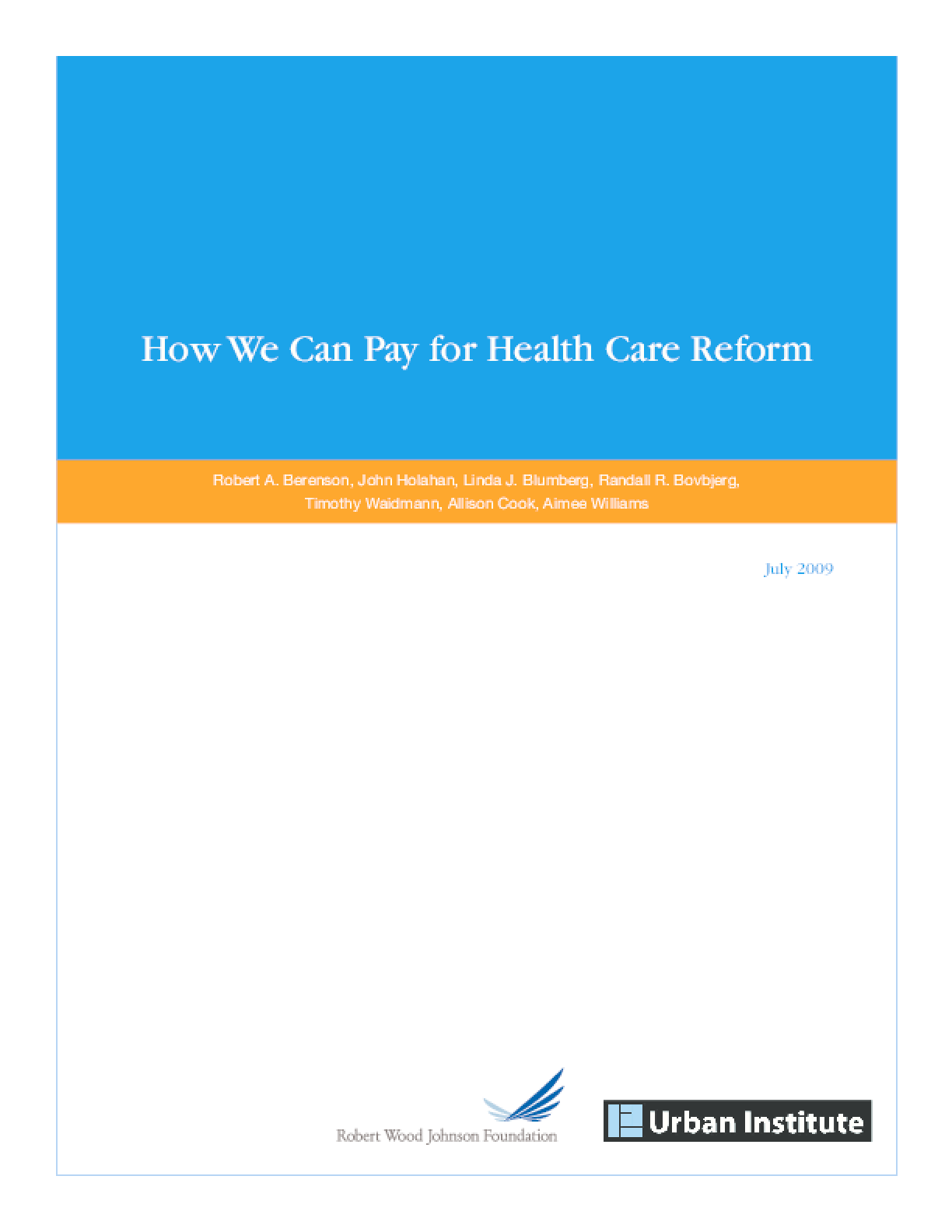 How We Can Pay for Health Care Reform