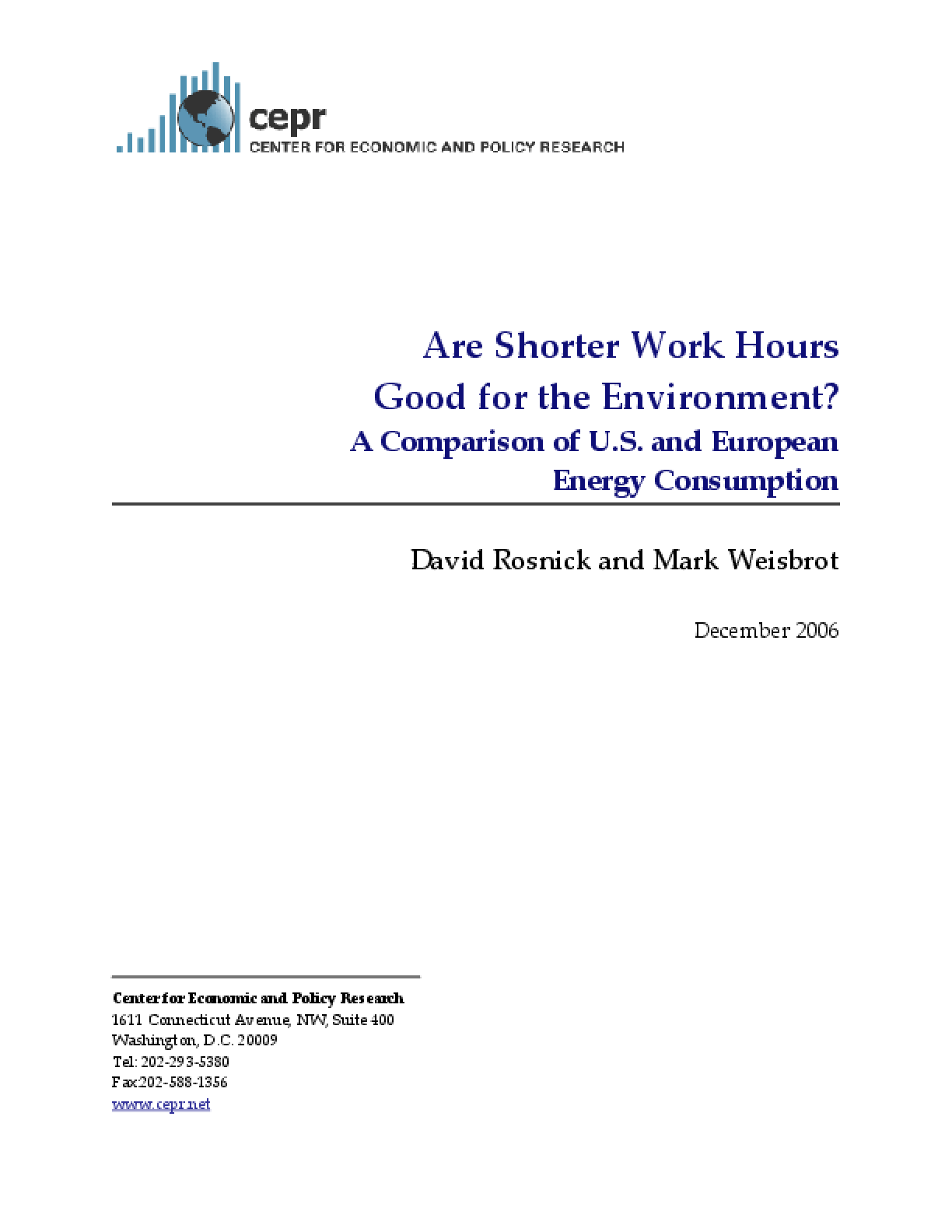 Are Shorter Work Hours Good for the Environment? A Comparison of U.S. and European Energy Consumption