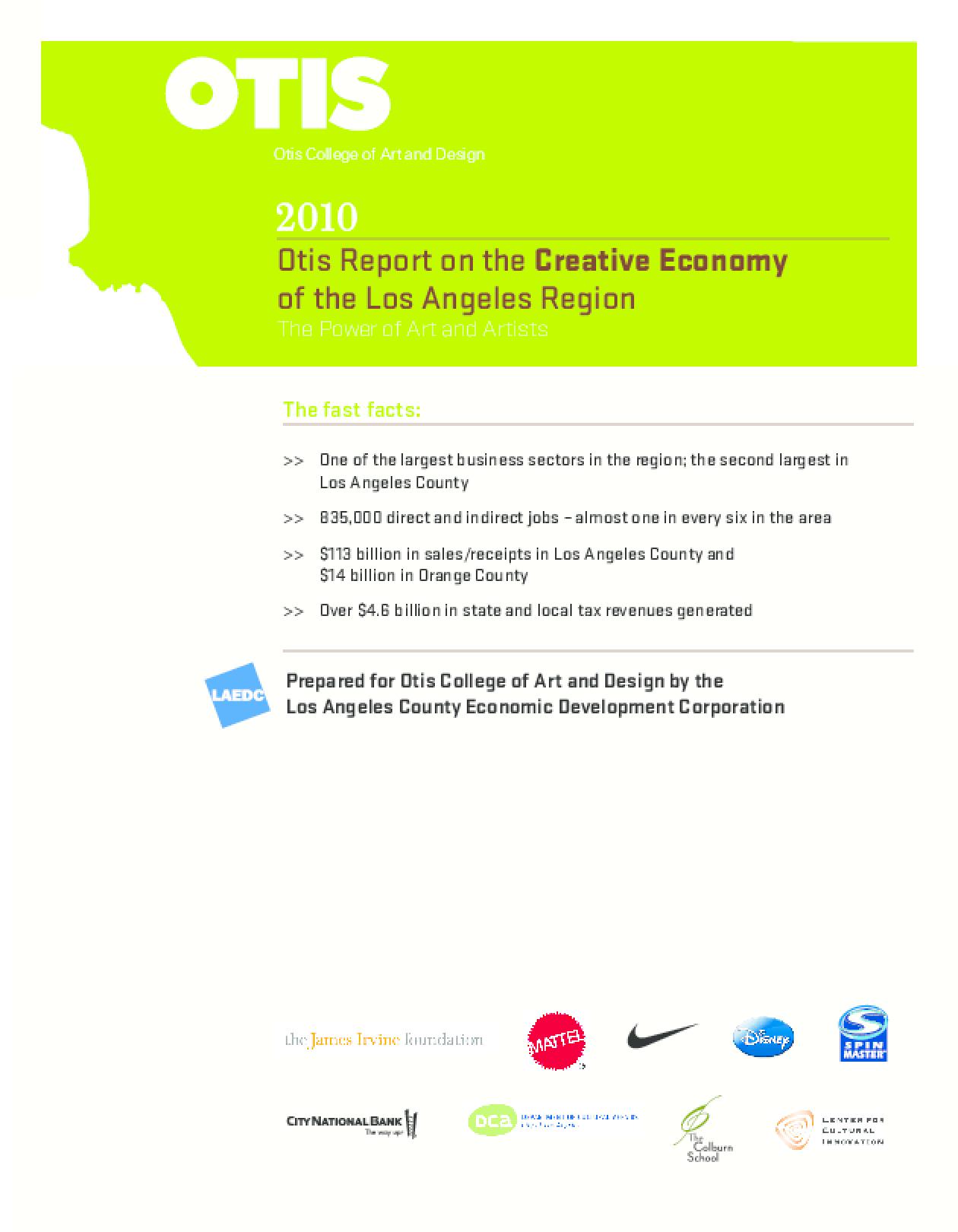 2010 Otis Report on the Creative Economy of the Los Angeles Region