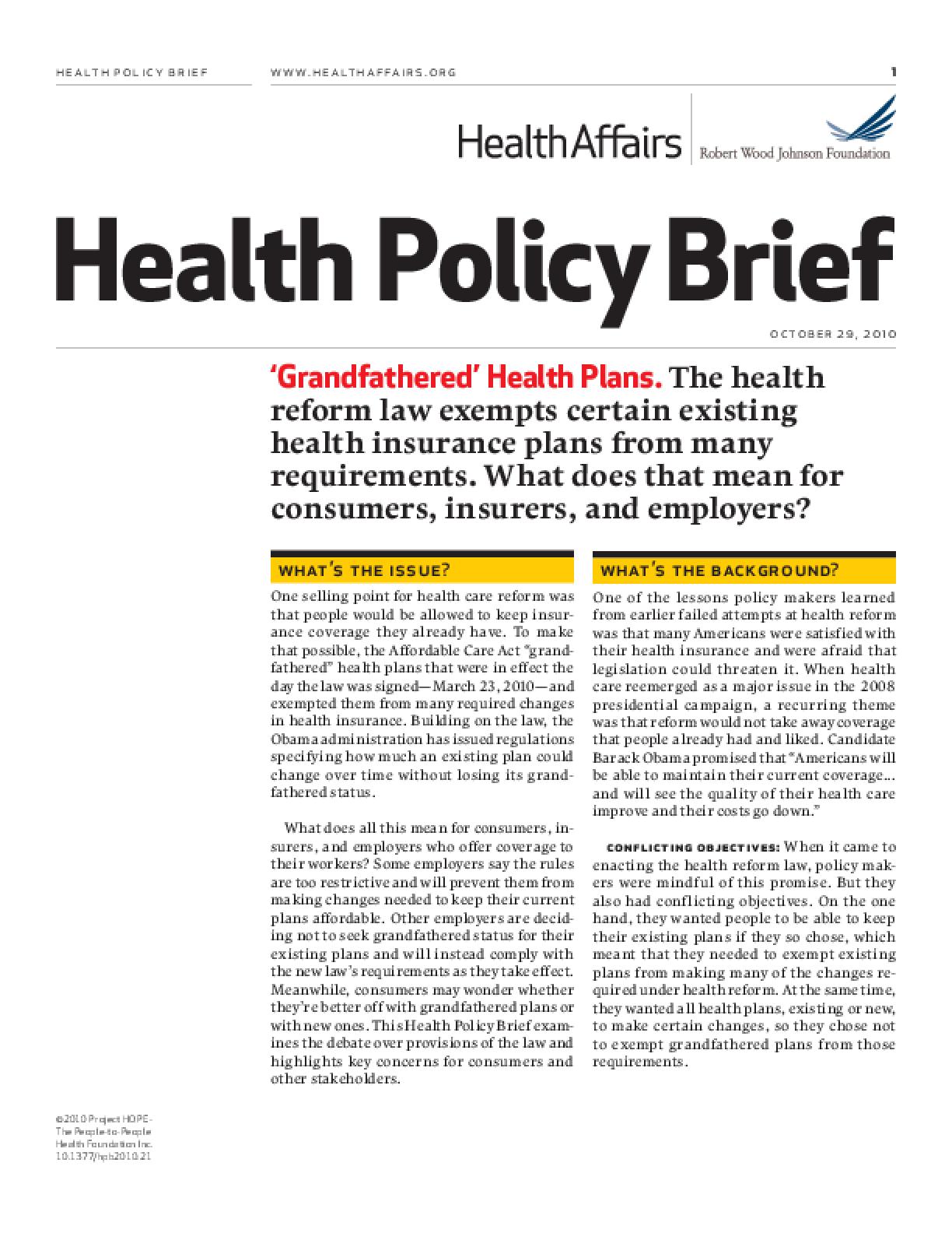 Health Affairs/RWJF Health Policy Brief: 'Grandfathered' Health Plans